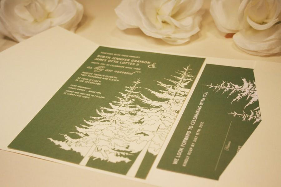 Hochzeit - SAMPLE In The Trees Wedding Pocketfold Invitation, Douglas Fir Trees, Green and Cream, Mt Hood, Birds, Black, Outdoor, Rustic and Modern