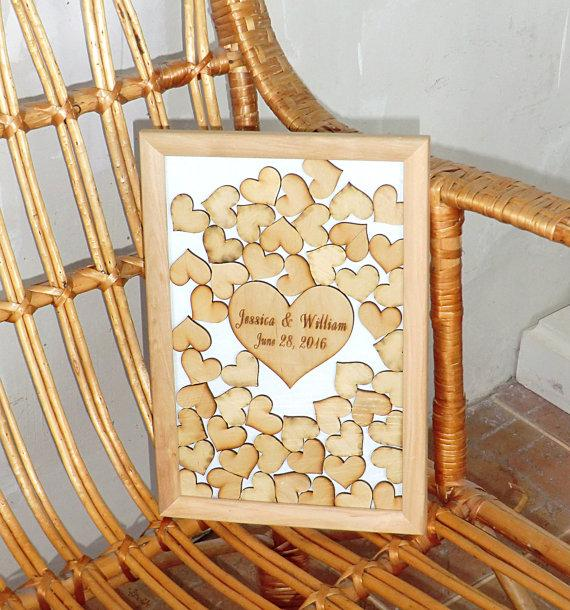 Wedding Guest Book Alternative Personalised Wood Custom Guestbook Rustic Heart Drop Top Box