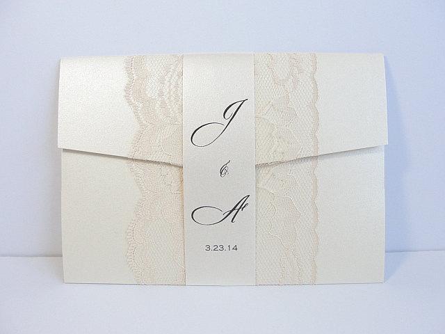 Wedding - Lace Wedding Invitation, Lace Wedding Invite, Wedding Invitations, Vintage Wedding Invitation, Pocketfold Invite AMY - BAND VERTICAL
