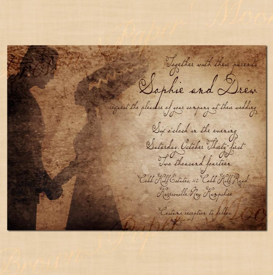 Wedding - Premium Frankenstein's Antique Halloween Wedding Invitation - 7 x 5