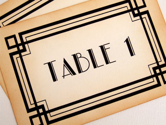 Wedding - Art Deco Table Numbers, Great Gatsby Wedding Table Numbers, Old Hollywood Glamour Table Signs, 1920s Table Number Signs, Matching Items