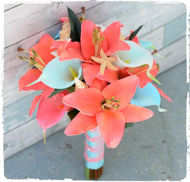 Mariage - Silk Wedding Bouquet - Natural Touch Coral and Aqua Teal Mint Callas and Lilies Seashell Silk Bridal Bouquet Turquoise