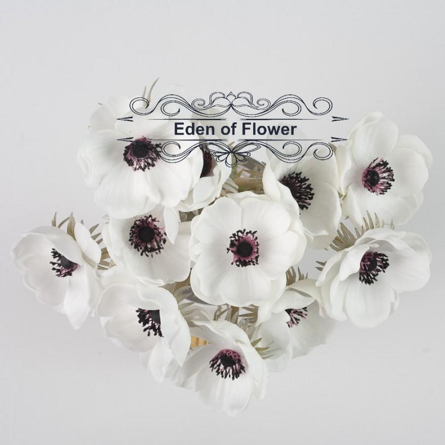 Real Touch Dark Purple Center White Anemones For Wedding Bridal ...