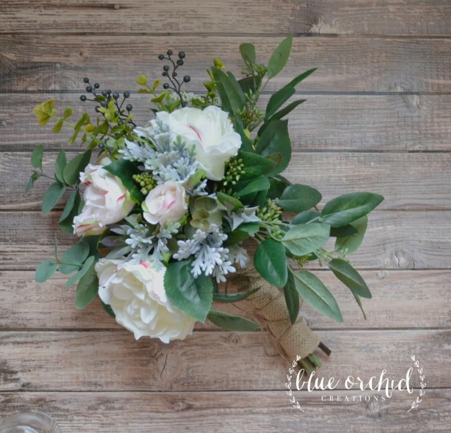 Mariage - Blush Rose and Peony Boho Bouquet with Eucalyptus and Dusty Miller