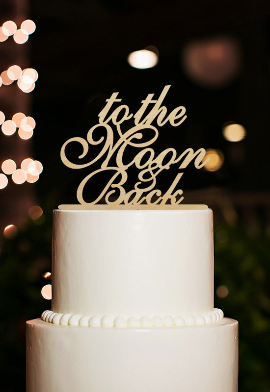 To The Moon and Back Bride Groom Wedding Black Cake Topper Party Decoration Sign