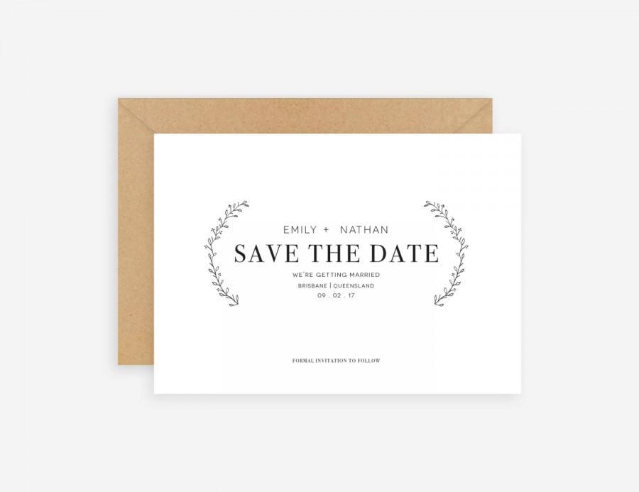 save the date minimal customisable wedding invitation rustic