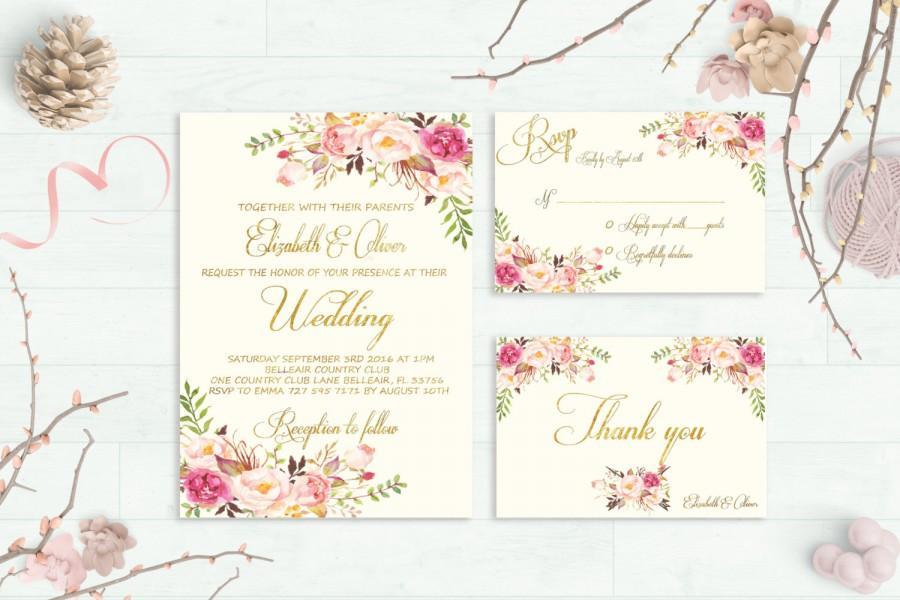 Fl Wedding Invitation Printable Boho Chic Suite Bohemian Invite Gold Foil Typography Spring Summer