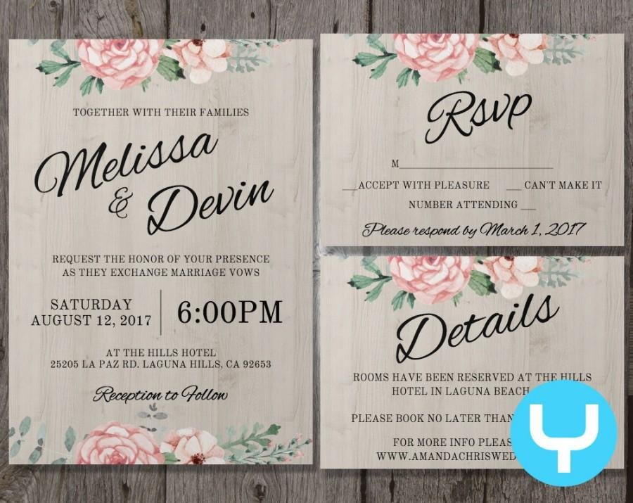 Printable Floral Wedding Invitation Kit Templates + RSVP, Details ...