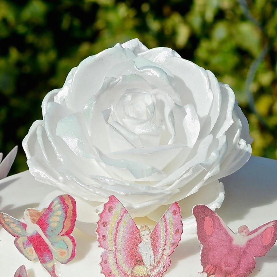 Hochzeit - Edible Rose Iridescent Pink White Soft Sheen Wafer Rice Paper 3D Roses Flowers Wedding Cake Decorations Decor Cupcake Toppers Delicate Shine