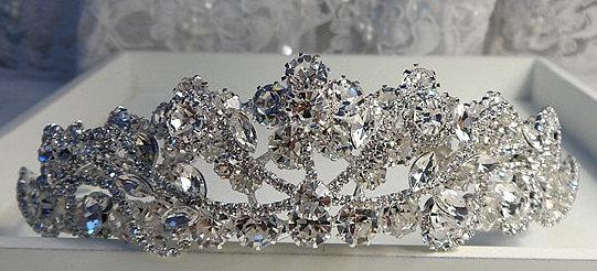 Wedding - Rhinestone Tiara with Cubic Zirconia, Wedding Crown, Bridal Tiara,Tiara Headband, Bridal Headpiece, Bridal Hair Accessories