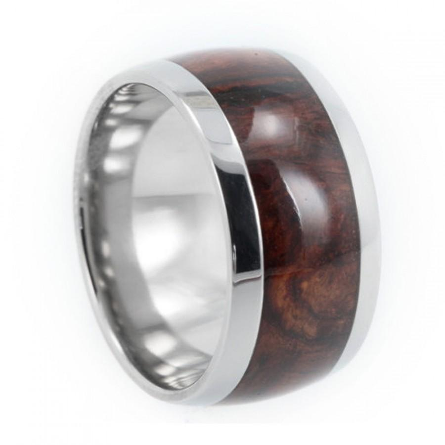 Mariage - Premium Honduran Rosewood Burl Wood Band, Mens Titanium Ring, Ring Armor Included