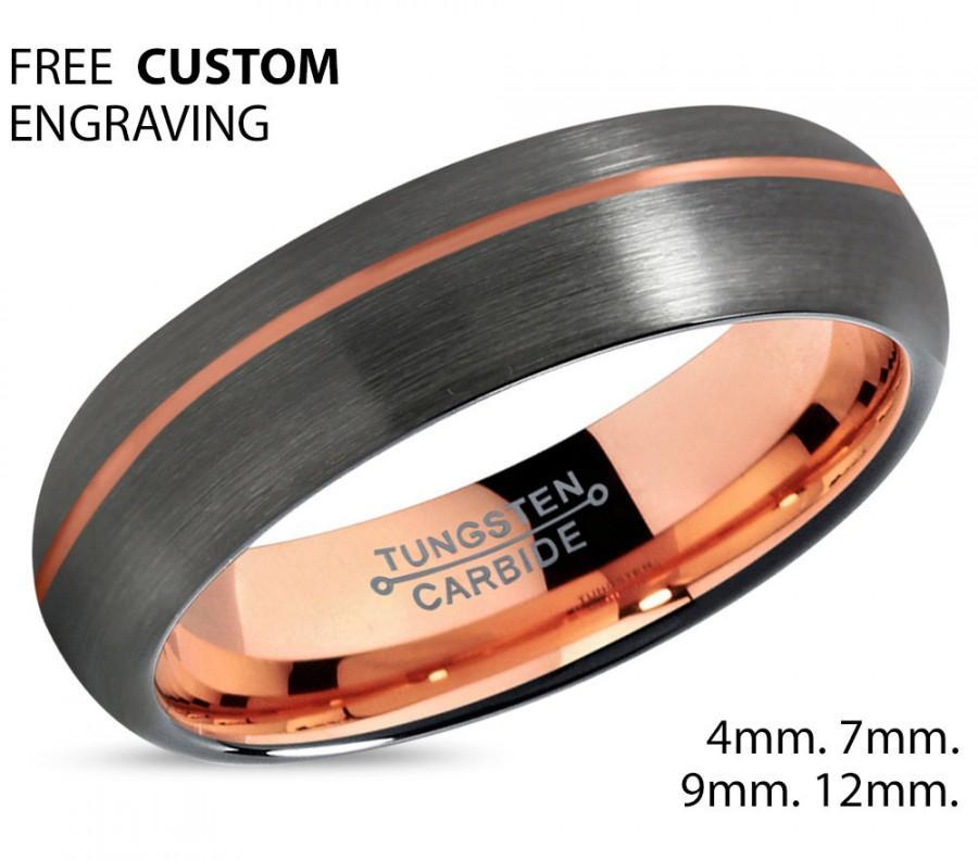 Mariage - GUNMETAL Tungsten Ring Rose Gold Black Wedding Band Ring Tungsten Carbide 7mm 18K Ring Man Wedding Band Male Women Anniversary Matching