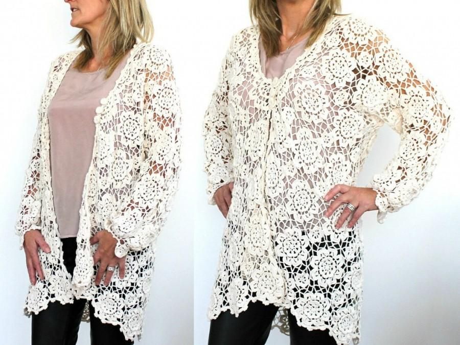 5fbc9b45f4c5 Handmade Cotton Crochet Cardigan Floral Crochet Design Long-Sleeve ...