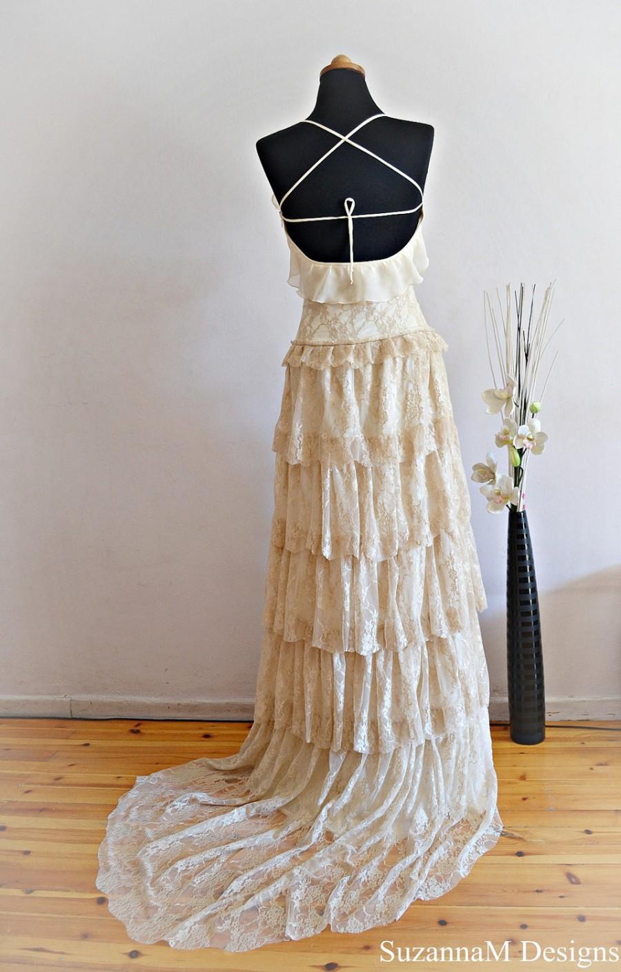 Boho wedding dress cream wedding dress lace wedding for Unique bohemian wedding dresses