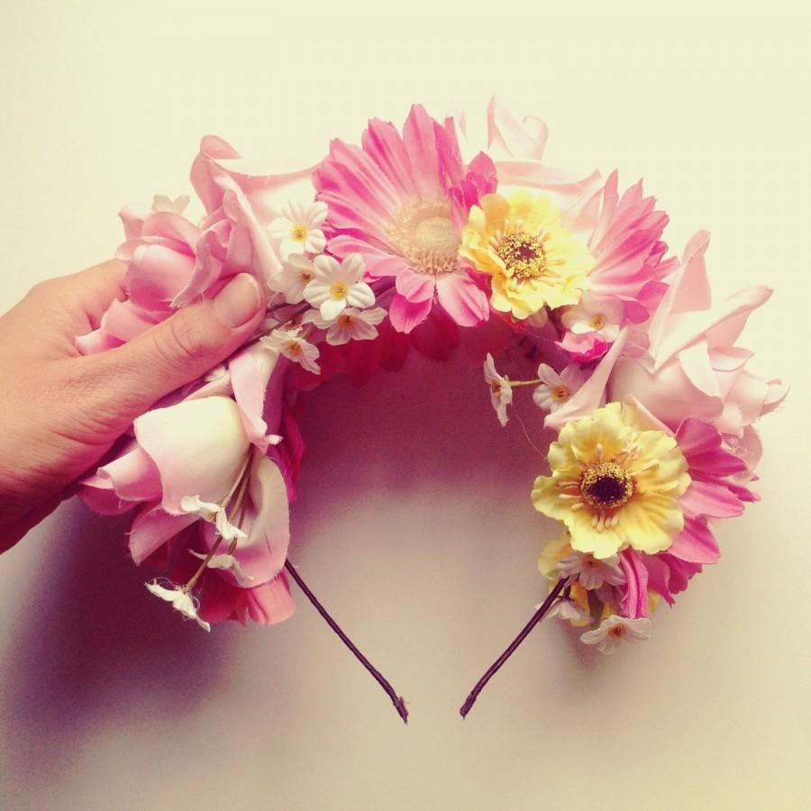 Mariage - Scandinavian Handmade Fascinator made of vintage flowers, Bridal Fascinator, Wedding Head Piece - SUS