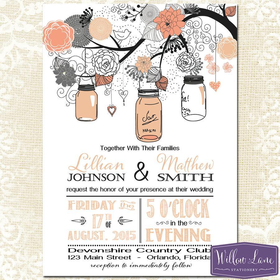 Mason Jar Wedding Invitation - Coral Gray Mason Jar Wedding Invite ...