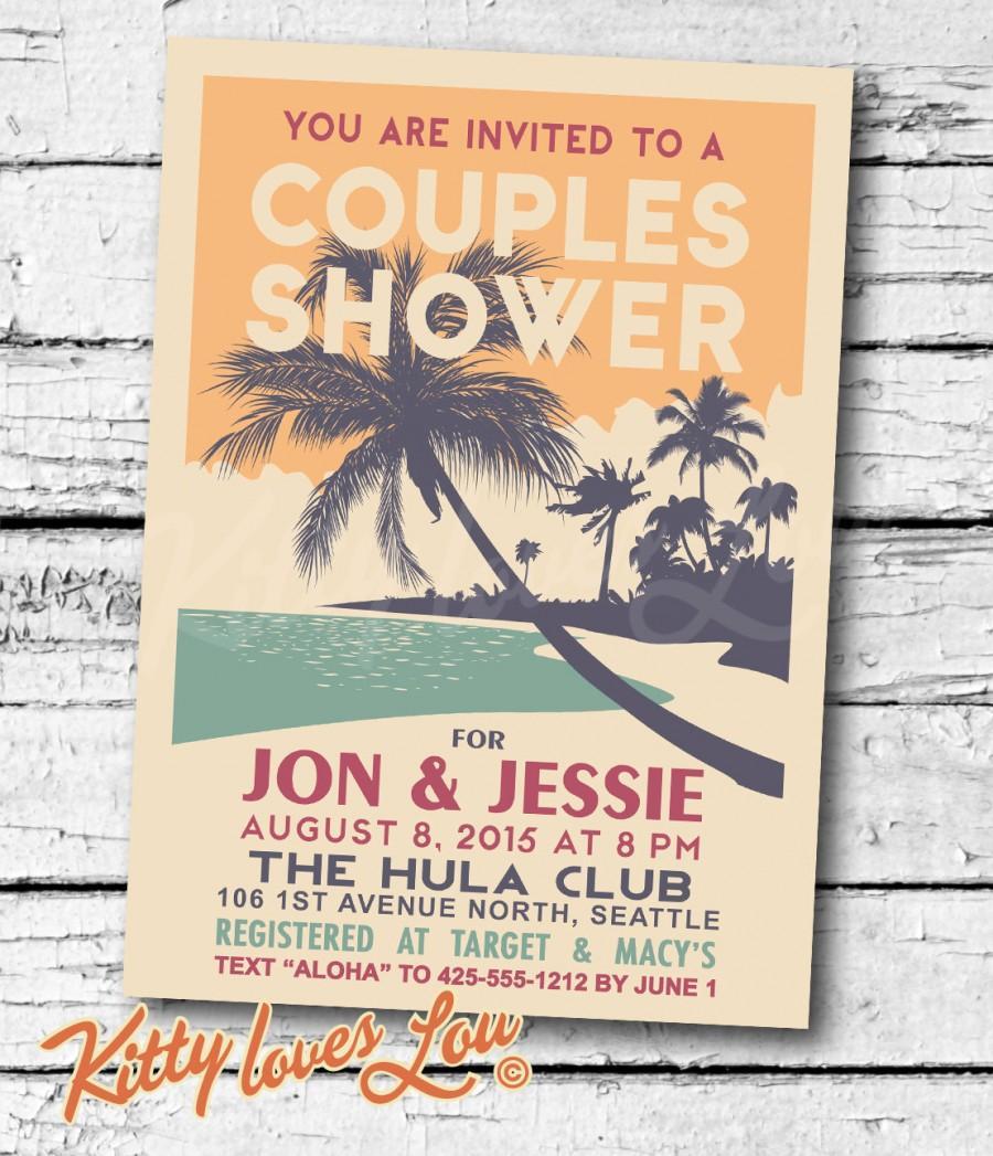 PRINTABLE Couples Shower INVITATION Digital PDF Retro Hawaiian ...