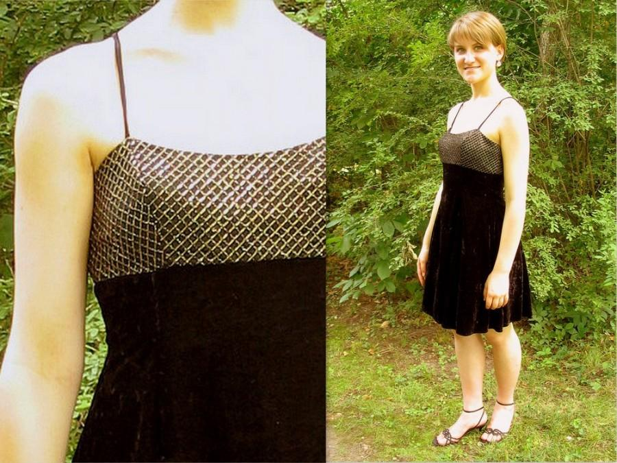 Upcycled little black dress cocktail party swing dress modern size 8