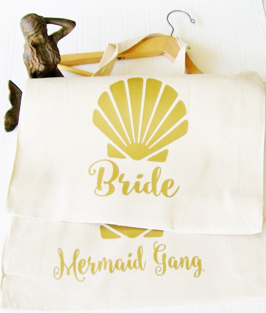 Beach Bride Tote Bag Custom Tote Bags Cotton Canvas Mermaid Of