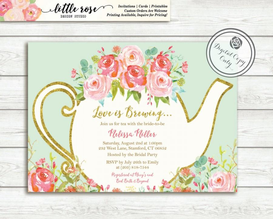 Love Is Brewing Bridal Shower Invitation Garden Tea Party High Invite Wedding Printable Lr1050