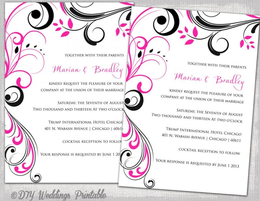 Wedding Invitation Templates Black And Hot Pink