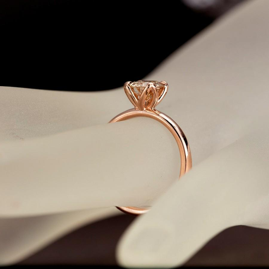 Mariage - Champagne Diamond Engagement Ring, Tulip Solitaire Ring, 14K Solid Rose Gold Ring, Natural Light Champagne Diamond Ring
