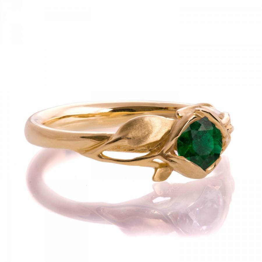 Свадьба - Leaves Engagement Ring - 18K Yellow Gold and Emerald engagement ring, engagement ring, leaf ring, May Birthstone, art nouveau, vintage, 6