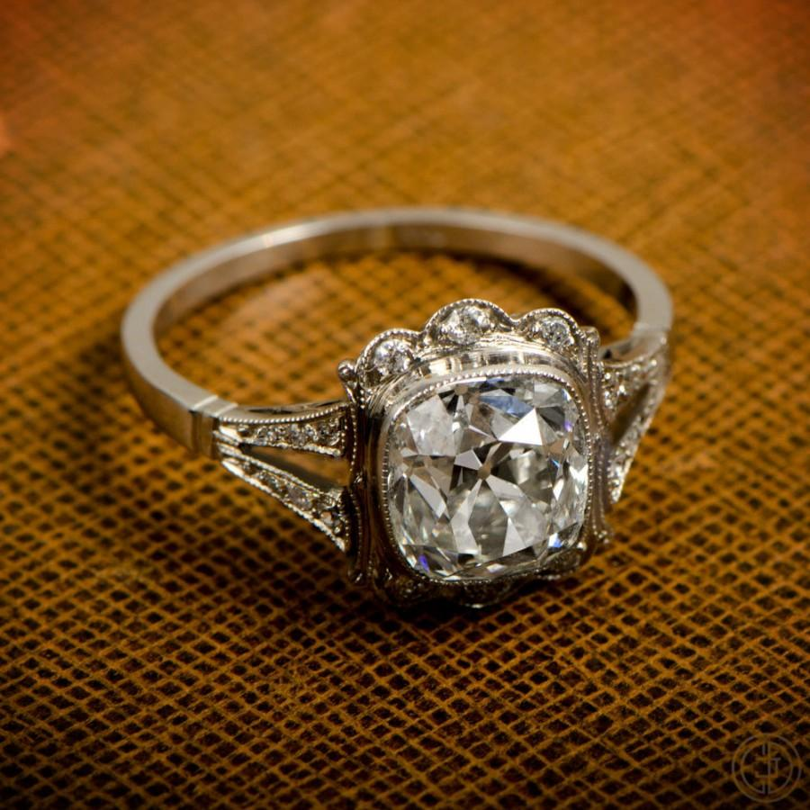 Свадьба - 1.45ct Old Mine Diamond Handmade Platinum Mounting - Art Deco Style Engagement Ring