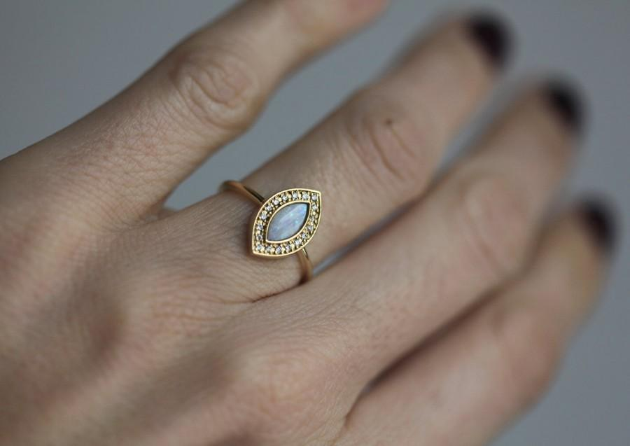 opal engagement ring gold engagement ring marquise