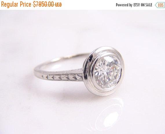 Свадьба - ON SALE - Antique Art Deco Platinum Bezel Set 1.05ct Diamond Solitaire Engraved Engagement Ring/ Appraisal Included
