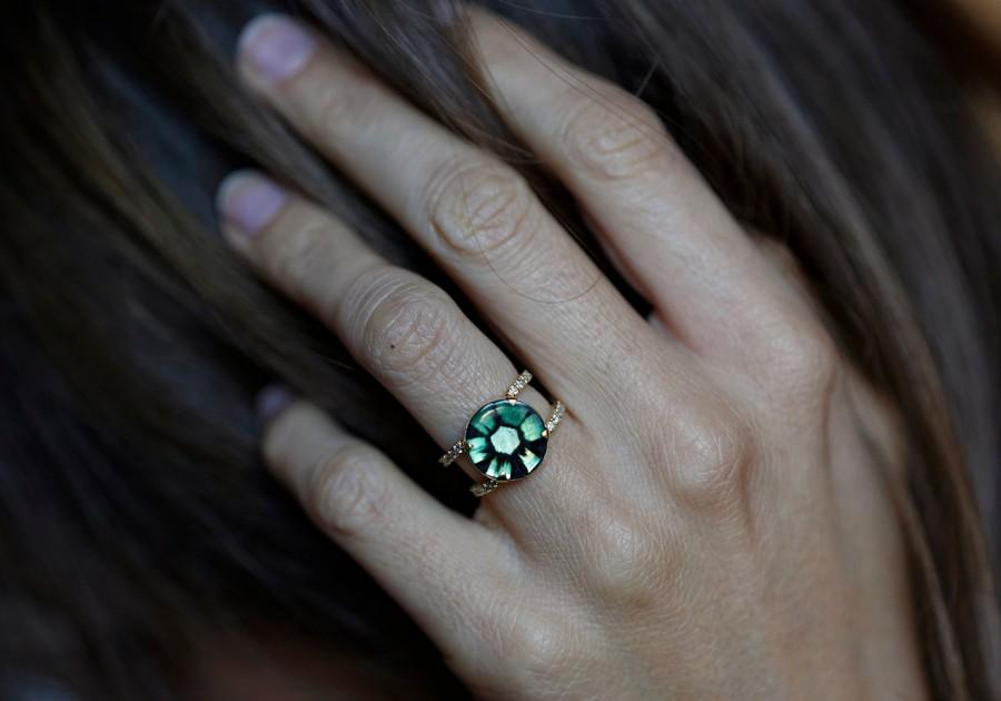 Свадьба - Emerald Engagement Ring, Halo Emerald Ring, Trapiche Emerald Ring, Rare Emerald Ring, Emerald Wedding Ring, Unique Engagement Ring