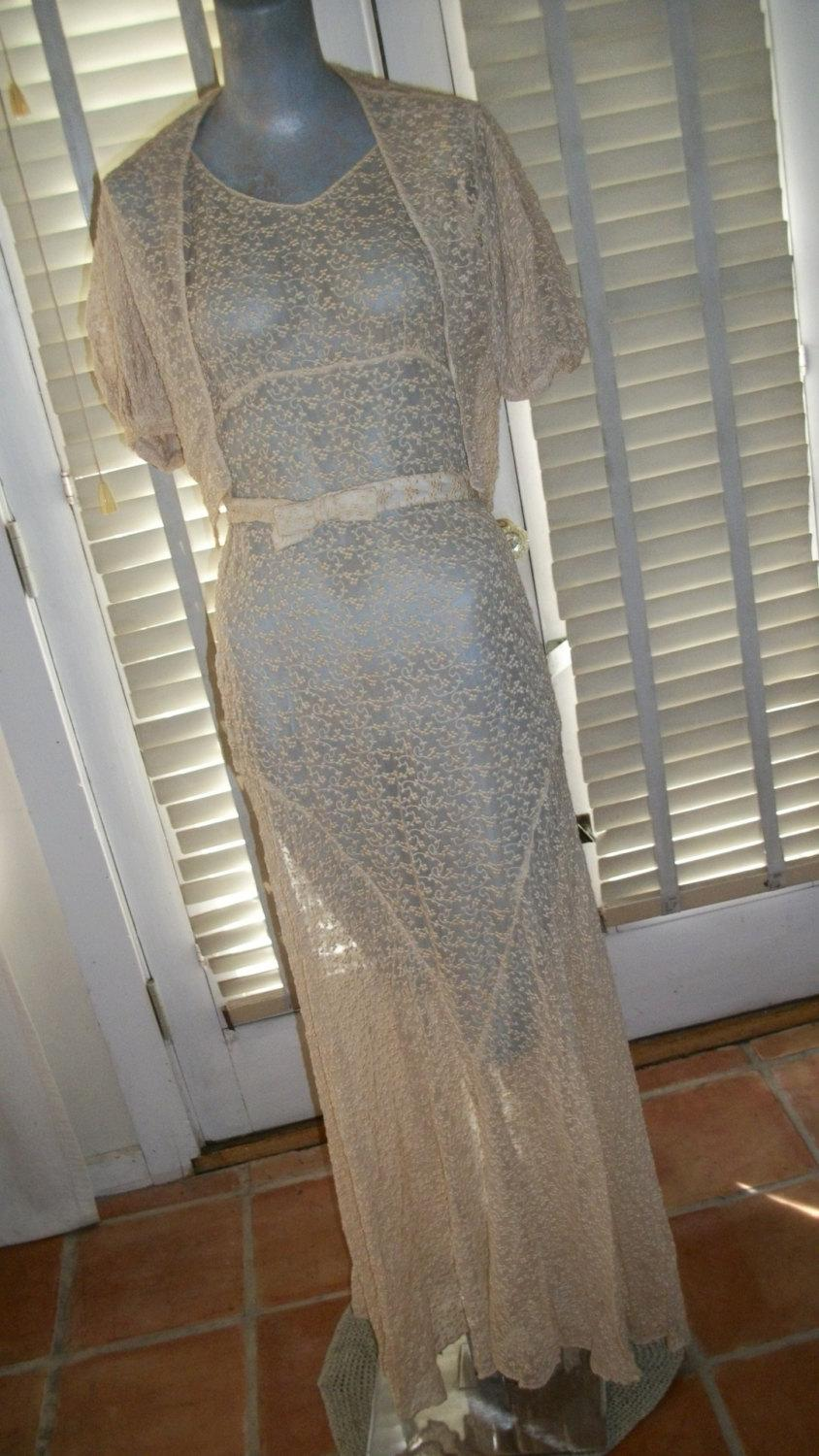 Mariage - 1920s 1930s Antique Lace Wedding Gown and Bolero Jacket Set Size S Very Good Cond Sheer Matching Belt