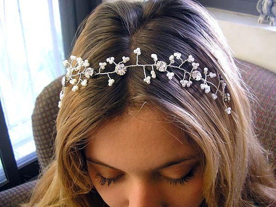 زفاف - Bridal hair vine, Wedding hair accessories, sparkle Rhinestones, head piece, Hair Vine Tiaras, hair piece fascinate