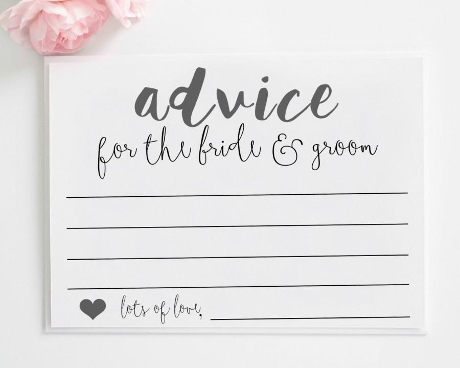 Wedding Advice Cards Printable Advice For The Bride And Groom