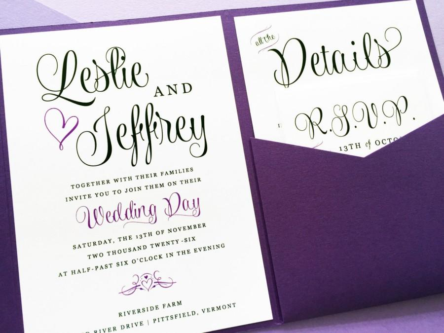 purple wedding invitation - lavender wedding invitation - wedding, Wedding invitations