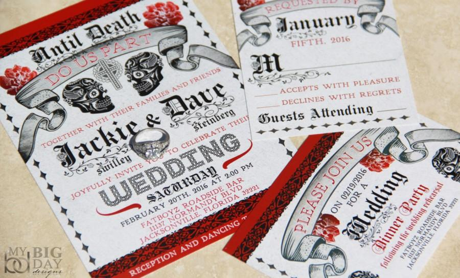 Mariage - Day of the Dead Wedding Invitations. Mexican Wedding. Sugar Skulls wedding invitation.