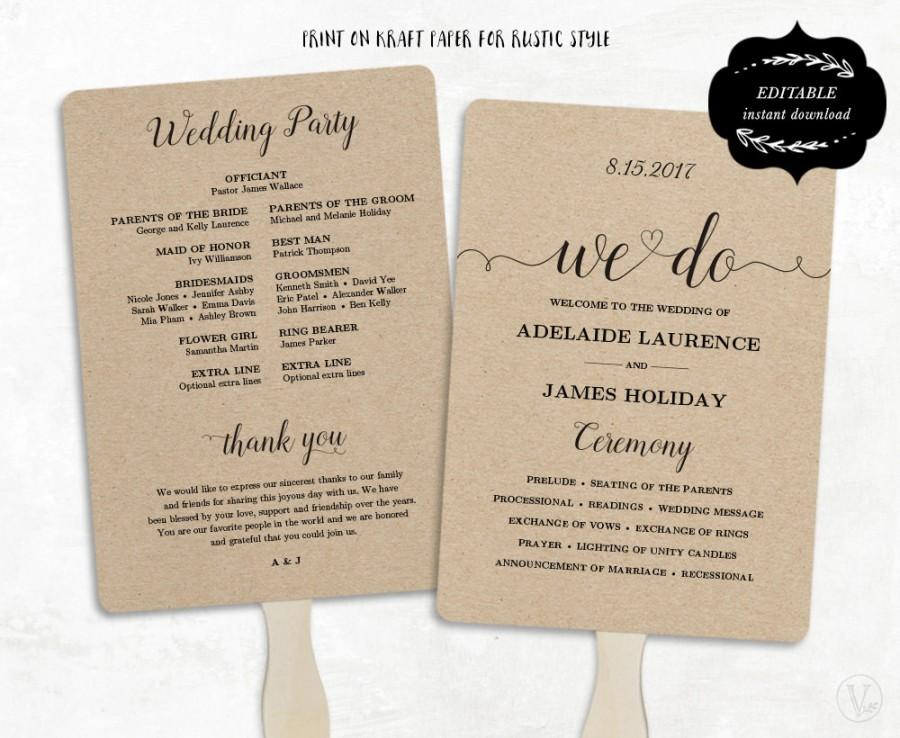 Printable Wedding Program Template Fan DIY Kraft Paper Editable Text 5x7 3 Colors Included We Do