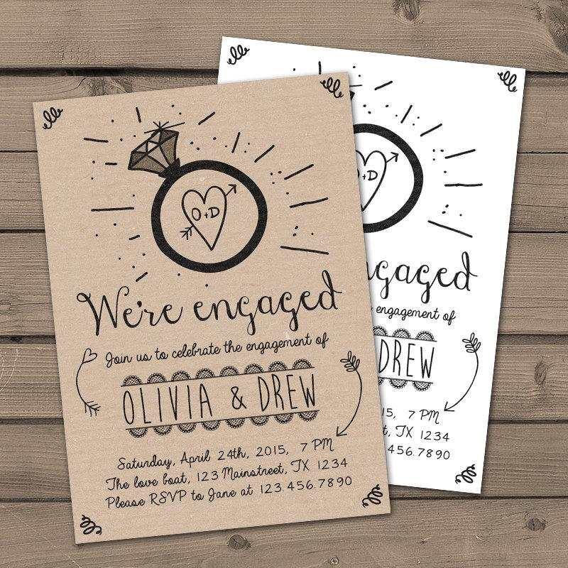 Engagement Party Invitation Invite Dinner Wedding Rustic Shabby Chic Ring Kraft Paper Digital Printable