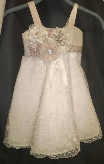 Mariage - Champagne Flower Girl Dress Size 2T Lace Tulle Skirt and Charmeuse Top