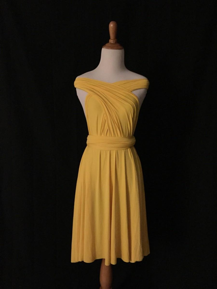 Mariage - Yellow dress,Bridesmaid Dress , Infinity Dress,Knee Length Wrap Convertible Dress.Party dress-B14#