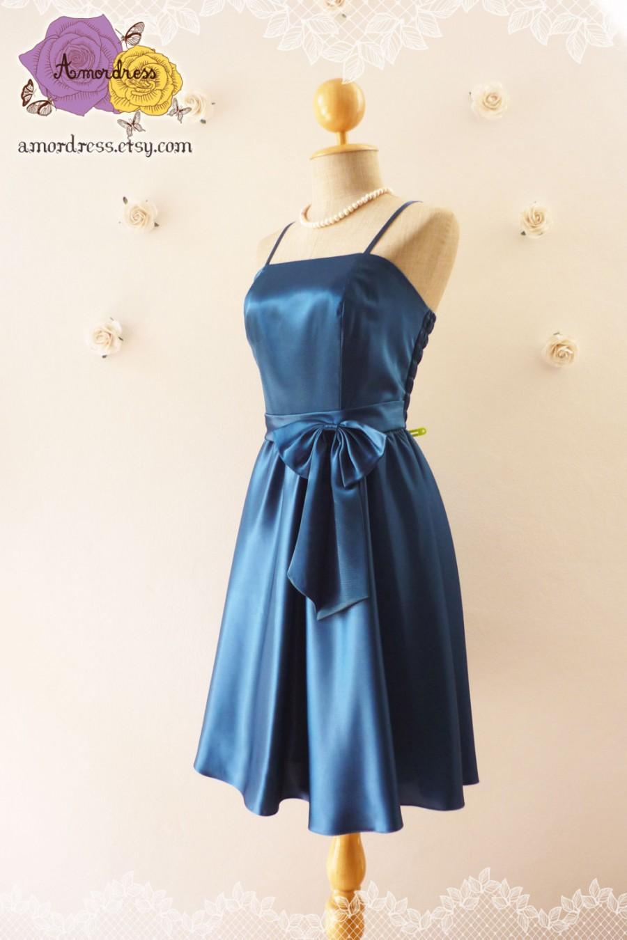 Mariage - SALE Midnight Blue Party Dress Elegant Vintage Inspired Party Prom Bridesmaid Wedding Cocktail Evening Dress Romantic Princess Romance
