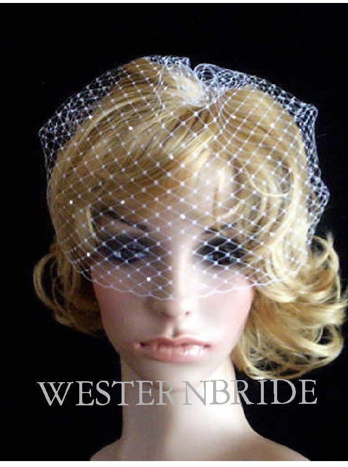 Mariage - Brides wedding veil PEARL ACCENT Pick of nose ivory Bridal Wedding Russian Net Birdcage Veil Wedding hair Accessory for tiara