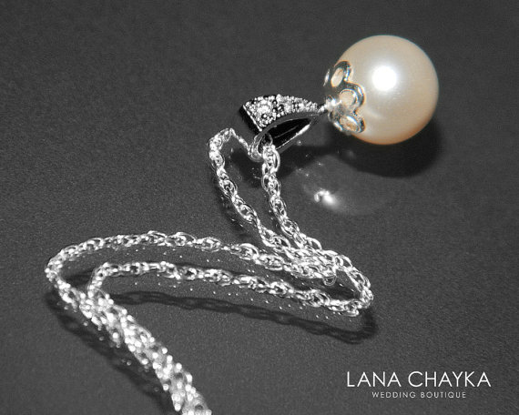 Wedding - LIGHT CREAMROSE Pearl Bridal Necklace Small Pearl Drop Sterling Silver Wedding Necklace Swarovski 8mm Pearl Necklace Single Pearl Necklace