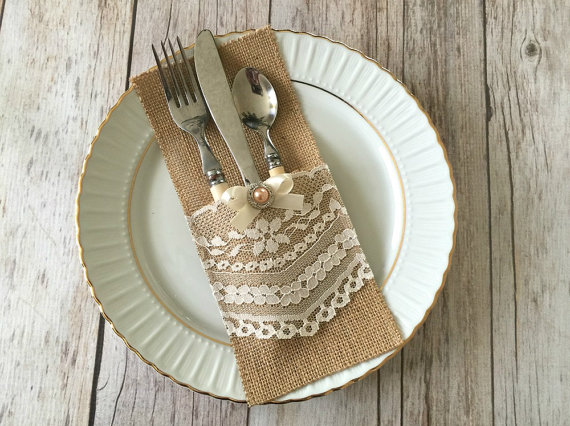 Wedding - 10 burlap and lace rustic silverware holders wedding, bridal shower, baby shower