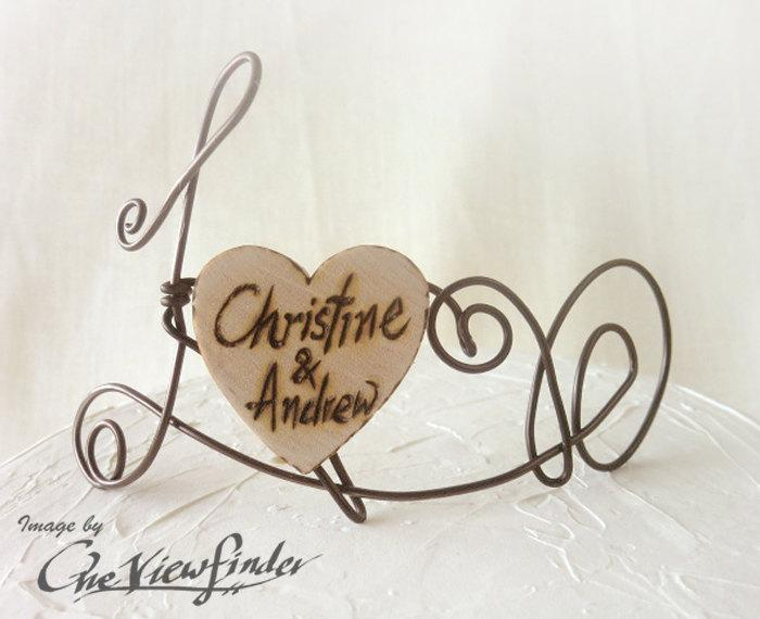 Mariage - Customize Wire and wooden heart Cake Topper, wire cake topper