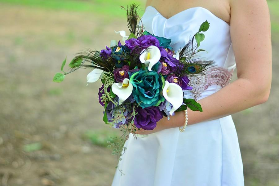 Pea Bridal Bouquet Teal Roses Wedding Purple And Flowers Feather Custom