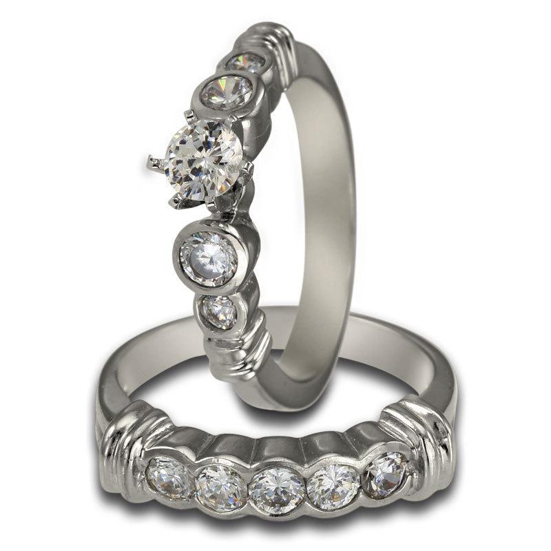 Свадьба - Diamond Bridal Set Engagement Ring 0.50 Carat And One Carat Bezel Set Diamonds