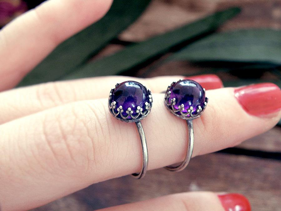 Свадьба - Amethyst ring, amethyst silver ring, victorian ring, amethyst crystal ring, promise ring, engagement ring, stone ring, antique ring