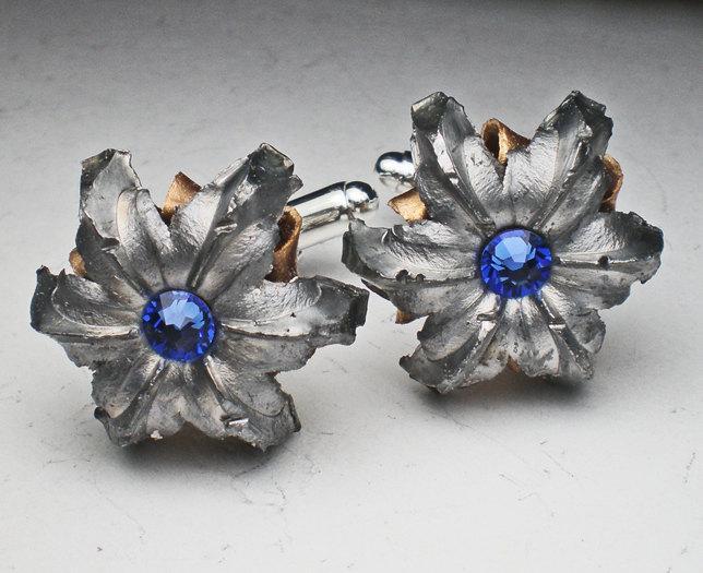 Свадьба - 45 ACP Auto HST Tactical LE Federal Fired Expanded Bullet Grooms Groomsmen Cufflinks Set Wedding Set with Swarovski  Crystal Birthstones