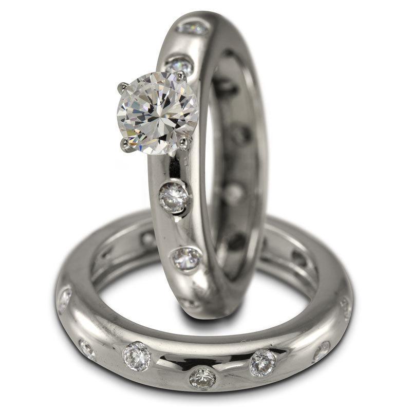 Свадьба - 1/2ct Round Set In Eternity Style Diamond Bridal Set With 27 Bezel Diamonds 1ctw